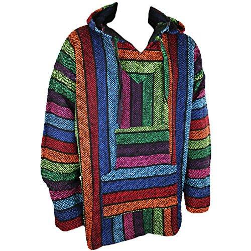 Mexikanisches Baja-/Jerga-Kapuzenhemd, Hippie-Stil, Regenbogenfarben, Größen M / L / XL / XXL Gr. XL, mehrfarbig
