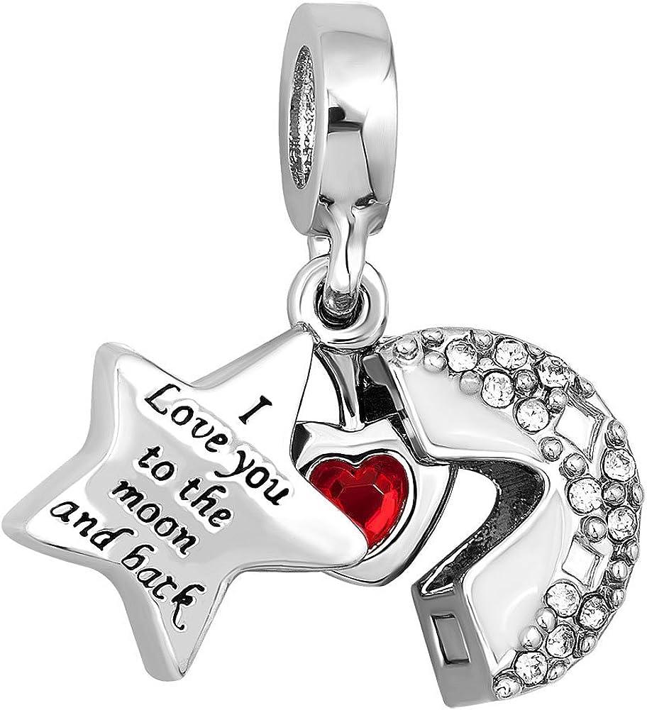 SUNWIDE Mothers Day Best Mom Cool Girl Love Heart Lipstick Gift Charm for Bracelet Dainty Clip Beads for Women Girls