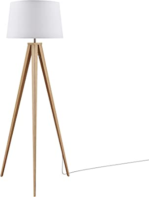 Ambiore Berlin Tripod Floor Lamp - 61 inch Morden for Living Room Office - Metal Wood Pattern Tripod with White TC Fabric Shade