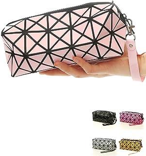 1bolso plegable para mujer, con diseños de rombos, de piel sintética, en forma de cubo, para maquillaj...
