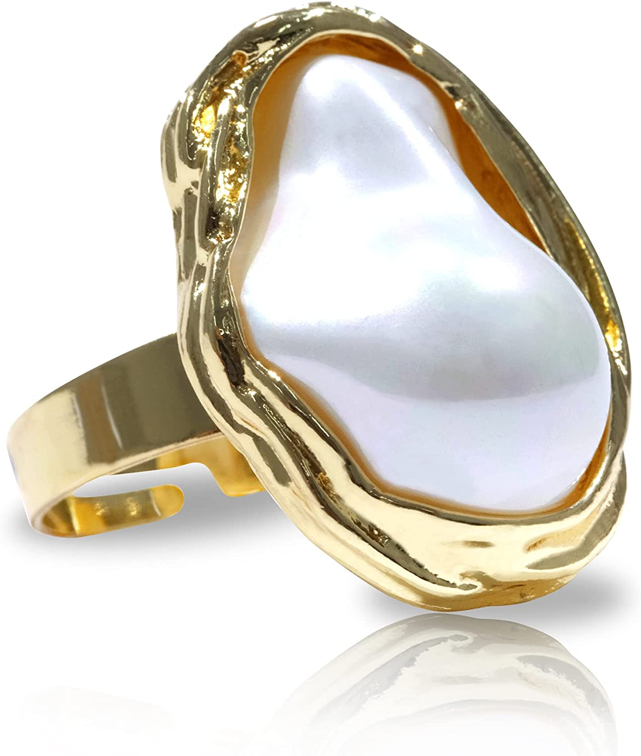 CRASIK Adjustable Pearl Gold Rings for Women,Indie Vintage Pear Rings Gold ,Knuckle Thumb Jewelry Ring