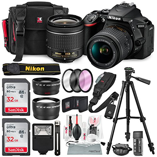 Nikon D5600 DSLR Camera with 18-55mm Lens W/ 2x 32GB Memory Card + Filters + 55mm Telephoto & Wide-Angle, Quick Release Shoulder Strap + Xpix Lens Handling Accessories with Deluxe Bundle