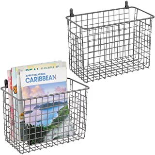 mDesign Portable Metal Farmhouse Wall Decor Storage Organizer Basket Bin with Handles for Hanging in Entryway, Mudroom, Bedroom, Bathroom, Laundry Room - Wall Mount Hooks Included, 2 Pack - Graphite
