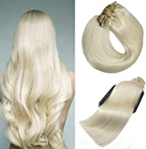 Aison 10 pcs 220g per package Clip in Human Hair Extensions 22 inch Platinum Blonde/lightest Blonde Thicken Double Weft 100% Remy Human Hair Super Real 9A grade Quality Silky Straight For Full Head