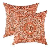 TreeWool Dekorativer Kissenbezug (40 x 40 cm, Orange) Mandala Design 100% Baumwolle (2er Pack)