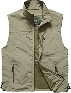 XXT Pocket Vest Polyester Men's Spring and Autumn Thin Sports and Leisure Multi-Pocket Vest Practicality (Color : Khaki, Size : XXXL)