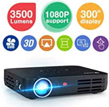 WOWOTO H8 3500 lumens Mini Projector LED DLP 1280x800 Real Mini Home Theater Projector WXGA Support 3D 1080P HD Perfect for Entertainment Business Wireless Screen Share Android HDMI USBx2 RJ45