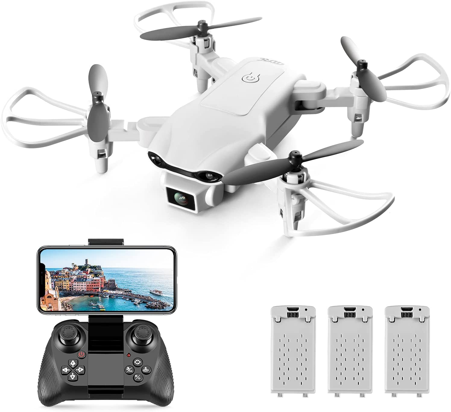 4D RC V9 Mini Drone with Camera for Adults Kids,720P HD Wifi FPV Live Video,RC Quadcopter Helicopter Beginners Toys Gifts,3 Batteries, Altitude Hold, Waypoints Functions, One Key Start, 3D Flips,Gray