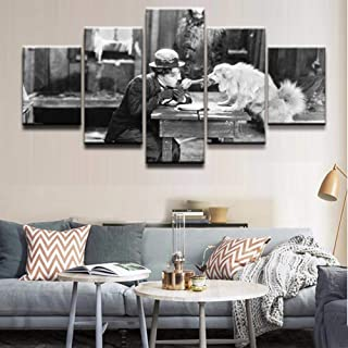 FJNS Canvases Print Modern Wall Art Canvas HD Printed Painting Framework Modular Poster 5 Pieces Charlie Chaplin The Gold Rush Pictures Home Decor,B,40x60x240x80x240x100x1