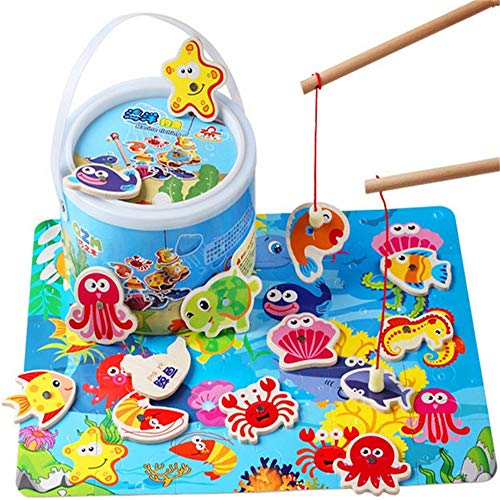 Find Bargain Boys and Girls Run Logic Game and Toy Wooden Magnetic Double Pole Fishing Game Fun Fanc...