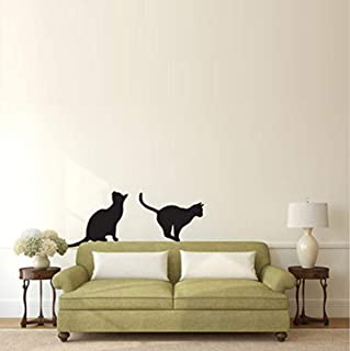 Cats Sitting and Pouncing Silhouette Animal Home Removable Art - Wall Decals Mural Decor Vinyl Z7005