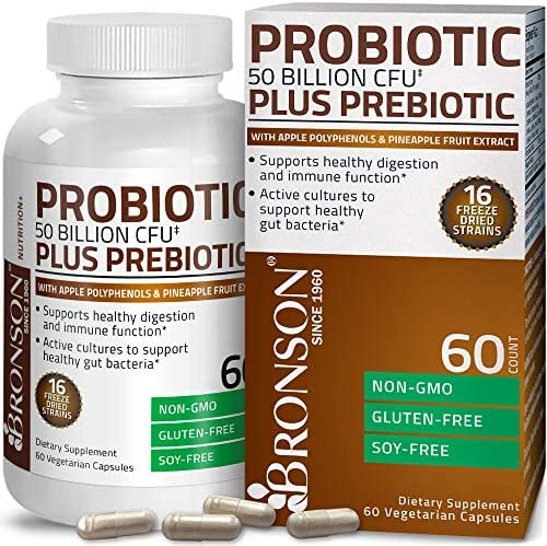 Bronson Probiotic 50 Billion CFU Prebiotic with Apple Polyphenols Pineapple Fruit Extract for product image