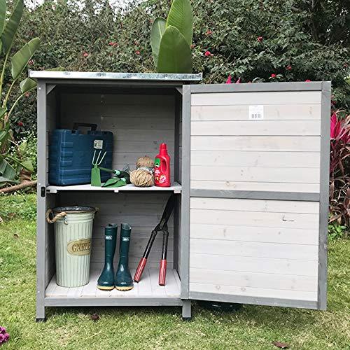 Utomhus trä trädgård skjul med tak, verktyg verktyg skjul, Verktygsskåp med balkong med 2 lager lagerhållare, Väderbeständig innergård skåp