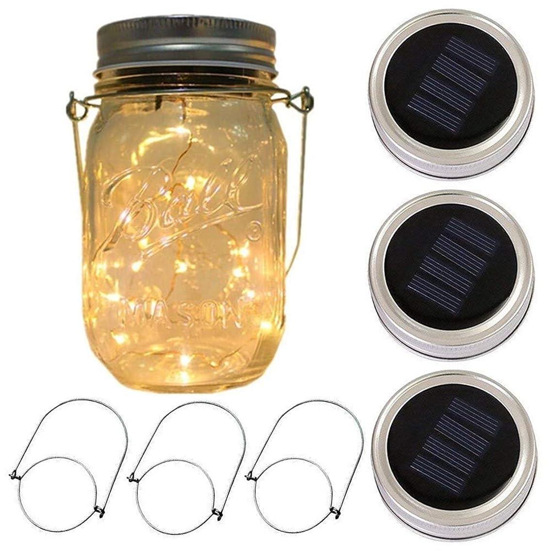 3-Pack Solar-powered Mason Jar Lights(3 Hanger Included/No Jar),10 Bulbs Warm White Jar Hanging Light,Solar Fairy Firefly Lights Lids Insert Fit for Regular Mouth Jars for Decor Solar Table Light