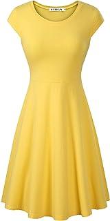 HIKA Women's Casual Elegant A Line Short Cap Sleeve Round Neck Dress