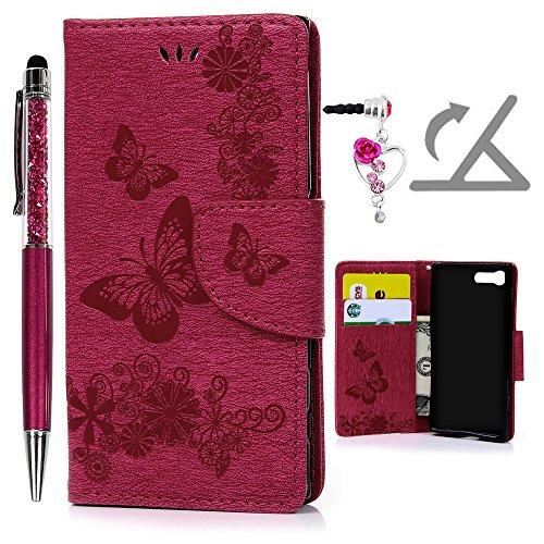 Geniric Handy Hülle für Sony Xperia X Compact PU Leder Flip Wallet Cover Stand Hülle Card Slot Tasche Karteneinschub Magnetverschluß Kratzfestes (Rose Red Schmetterling) mit Stylus Stift Staubstecker