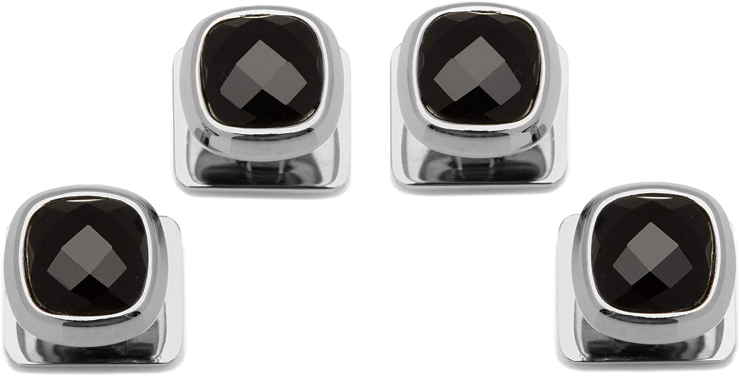 Ox and Bull Trading Co Cufflinks INC Faceted Onyx Cushion Studs (Black)