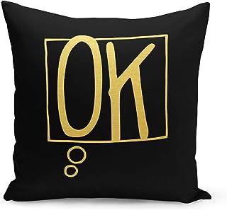 Ok Black Velvet Pillow with Metalic Gold Golden Foil Foil Print Speech Bubble Couch Pillows