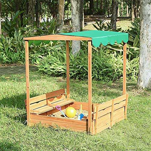 Naomi Home Kids Canopy Cedar Sandbox with 2 Convertible Benches