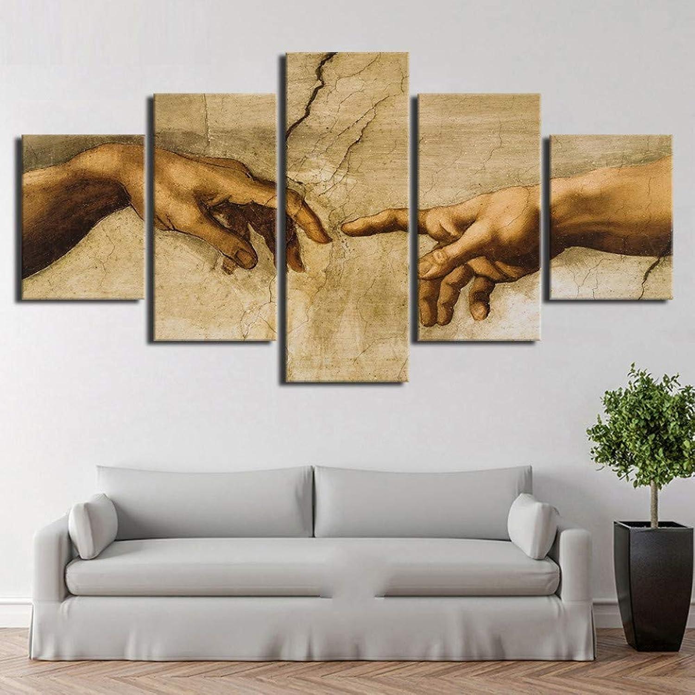 forma única RMRM Marco Lienzo Modular, Arte de Parojo de 5 5 5 Piezas Creación de Adán de la Mano de Dios, Marco de decoración de Sala de impresión Abstracta con Pintura HD 20x35cm20x45cm 20x55cm  producto de calidad