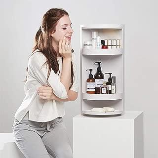 FAZHEN360 Rotating Corner Shelves,4 Tier Storage Cabinet, Door Decorative Cubicle Organizer for Bathroom Countertop Bathtub Toilet Table and More. (White)