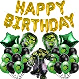 RenbangUS 26 PCS Hulk Party Balloons Favors,Includes Including Latex 10 Black Balloons, 10 Latex Green Balloons, 5 Foil Balloons, 1Balloons Banner,Hulk Party Favors Decorations Supplies for Kids Boys Birthday Party Baby Shower