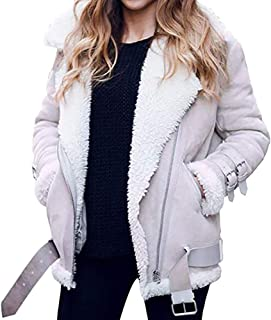 Pgojuni Faux Fur Fleece Coat Outwear Winter Women Warm Lapel Biker Motor Aviator Jacket Coat Cardigan