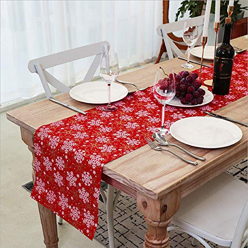 VNFOX White Snowflake Holiday Christmas Linen Type Cloth Table Runner -for Party,Dinner,Christmas Table Decorations 14 x 72 INCH