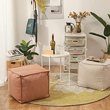 """Unstuffed Pouf Cover, Ottoman Pouf Foot Rest Footstool, Solid Square Pouf, Storage Bean Bag 17.7""""x17.7""""x15.7"""", ON"""