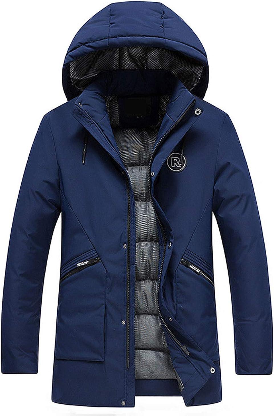 Itemnew Man's Basic Full Zipper Waterproof Mesh Lined Hooded Long Windbreaker Coat