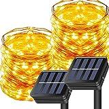 2Pcs Cadena de Luces Exterior Solares, 10m 100 LED Luces Solares Exteriores Jardin con 8 Modos, Impermeable IP65 Cadena Luces para Patio,Jardines,Terraza, Fiestas,Bodas, Navidad Arbol Decoración