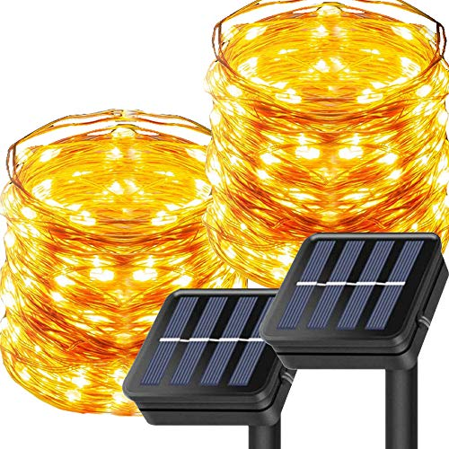 Outdoor Solar String Lights, 2 Packs 100 LED 10m Solar Operated Copper Wire IP65 Waterproof Fariry Lights for Garden, Patio, Party, Wedding(Warm White )