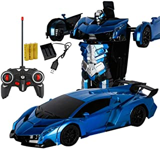 1:18 Model RC Deformation Car, Remote Control Vehicles Robot with One-Button Deformation and Music Sound LED Lights, Wonderful Gift for Kids Boys Teenagers