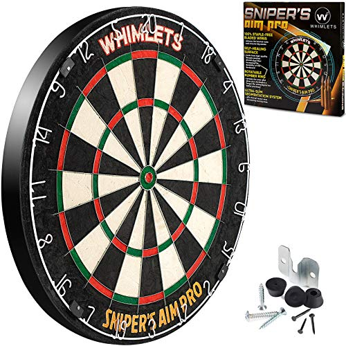 Whimlets Professional Dart Boards for Adults - Pro Dart Board for Steel Tip Darts - 18-Inch Bristle/Sisal Tournament Dartboard with Staple-Free Ultra-Thin Wire Spider - Indoor or Outdoor Dartboards