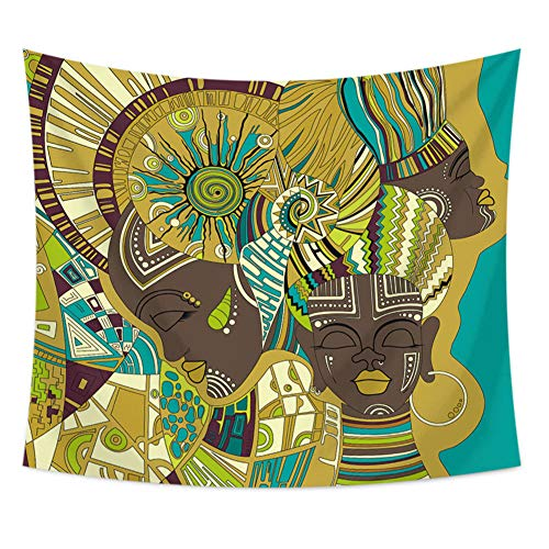 Tapestry,Abstract Wall Mounted 3D Printing High Definition Bohemian Mandala Wall Mounted Psychedelic Tarot Card Divination African Girl Polyester Craft, Suitable for Dormitory Living Room and Bedr