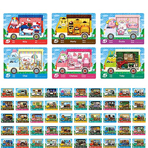 50+6 Stück NFC Tag Spielkarten für Animal Crossing New Horizons für Nintendo Switch / Switch Lite / Wii U mit durchsichtigem Kunststoffgehäuse