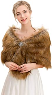 Gorais Bride Wedding Faux Fur Shawls and Wraps Winter Bridal Fur Scarf with Brooch for Bride and Bridesmaids