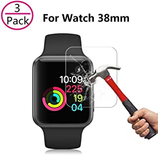 [3 Pack] Apple Watch 38mm Screen Protector,ZzzBuoo[9H Hardness][Anti-Bubble] HD Clear Tempered Glass Screen Protector for Apple Watch 38mm (Series 3/2/1 Compatible)