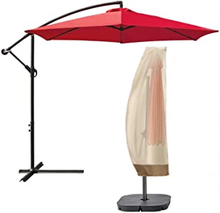 Andals Patio Umbrella Covers 600D Durable Outdoor Waterproof Beige Cover with Zipper Fits Cantilever Umbrella Up to 14 Feet