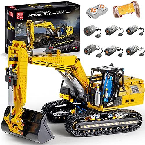 Bybo Technik Bagger Bausteine, Mould King 13112, Ferngesteuert Technik Raupenbagger mit 6 Motoren, APP Gesture, Kompatibel mit Lego technic - 1830 Telie