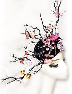 Women's Fascinator Headpiece Wedding Party Mini Top Hat Handmade Gothic Butterfly Antler Headdress Horns Hair Accessories Xiaolanwelc