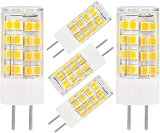 GY6.35 G6.35 LED Bulb GY6.35 Bi-pin Base 5W AC/DC 12V Daylight White 6000K-6500K G6.35/GY6.35 Base T4 JC Type LED Halogen Incandescent 40W Replacement Bulb Not-Dimmable (5-Pack)