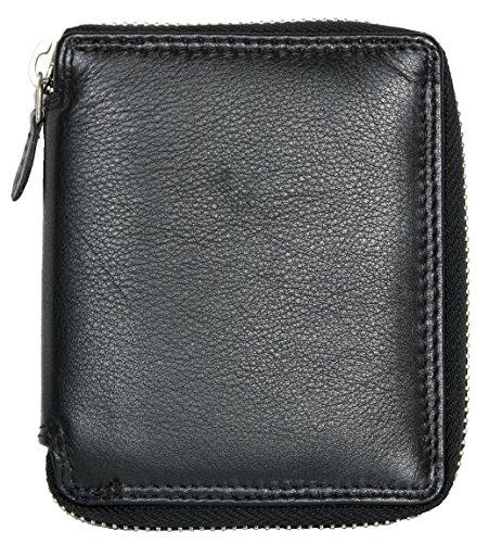 Portafoglio RFID uomo in vera pelle realizzato in formato tascabile vera pelle bovina solida con cerniera in metallo tutt'intorno