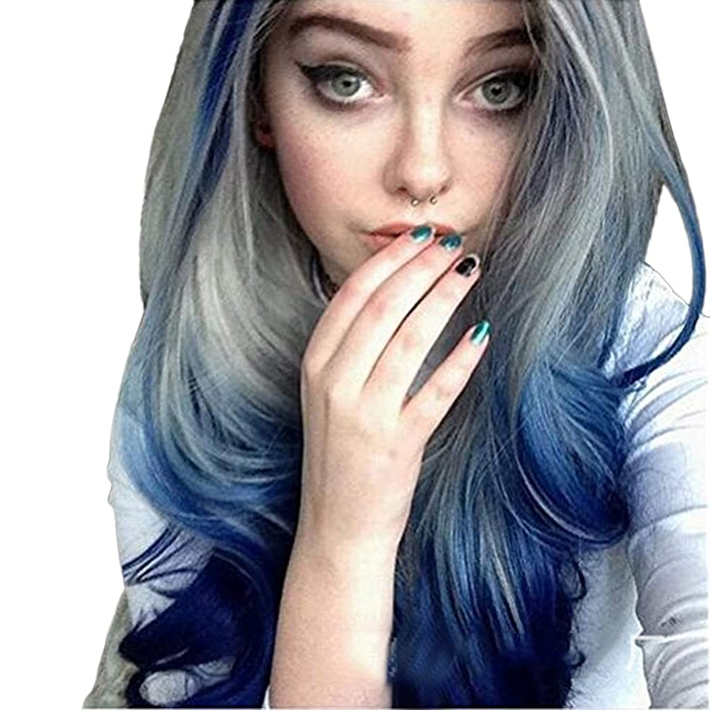 Yezijin Ladies Wavy Wig Women Long Curly Straight Wavy Synthetic Full Hair Wig Blue Gray Cosplay Length: 28