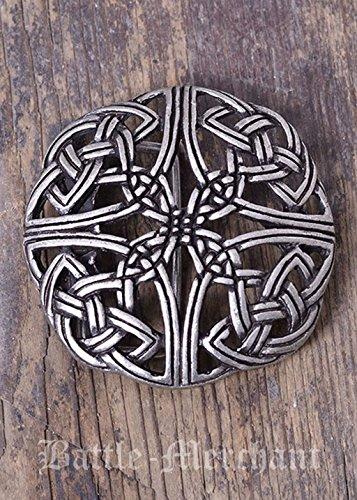 Battle-Merchant Gürtelschnalle - Keltisches Muster, durchbrochen LARP Gürtelschließe Wikinger Mittelalter Silber oder Bronze (Silber)