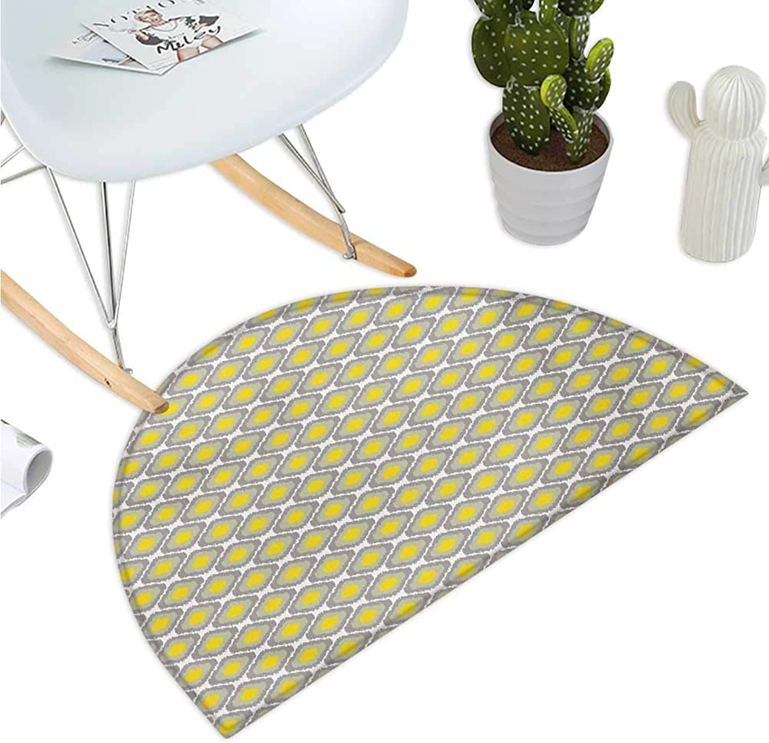 Ikat Semicircular Cushion Surreal Geometric Pattern with Squares with Vintage color Palette Illustration Bathroom Mat H 51.1  xD 76.7  Grey Yellow White