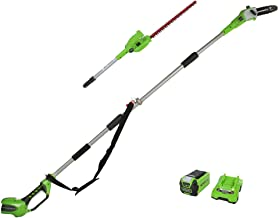 Greenworks 40 V 20 cm Pole Saw and 51 cm Hedge Trimmer 2-in-1 Battery Powered Kit G40PSHK2 (Incl. 2 Ah Battery and Charge...