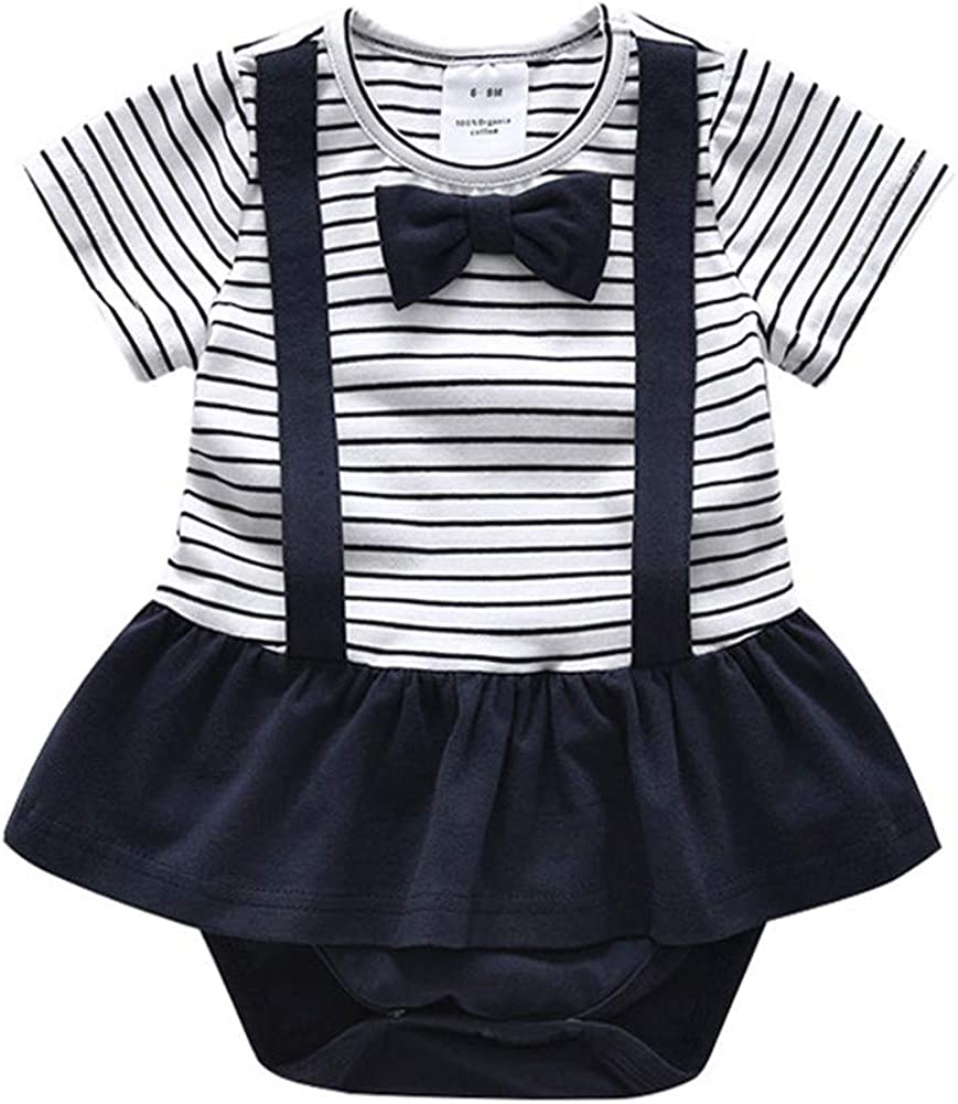 Newborn Baby Girls Short-Sleeve Striped Dress Bodysuit Jumper onesies Photography Outfits 0-24Months