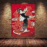 Cuadros de pared 20x30cm sin marco Geisha japonesa y pez Yin-Yang Pintura sobre lienzo Arte de pared Samurai Imagen para sala de estar Decoración del hogar