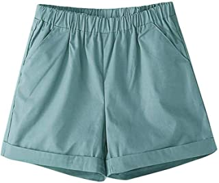 Surprise S Summer Mid Elastic Waist Solid Straight Pleated Cotton Breathable Shorts Oversized Sweat Shorts